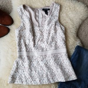 WHBM Lace Sleeveless Lined Shell